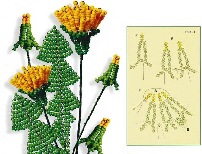 поделки цветы из бисера со схемами