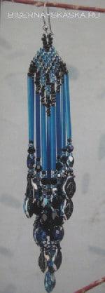 Синие серьги с бахромой из бисера,мастер класс по плетению.